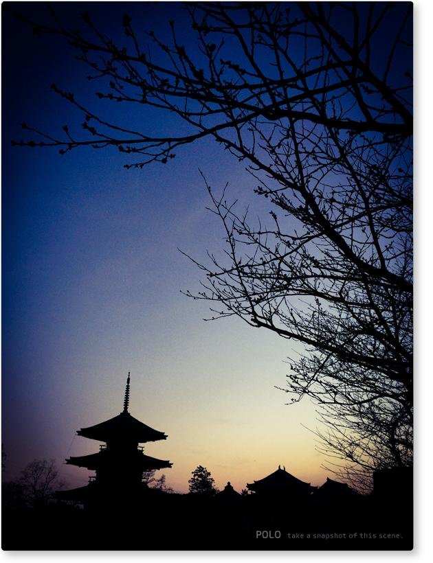 法起寺の夕暮れ_